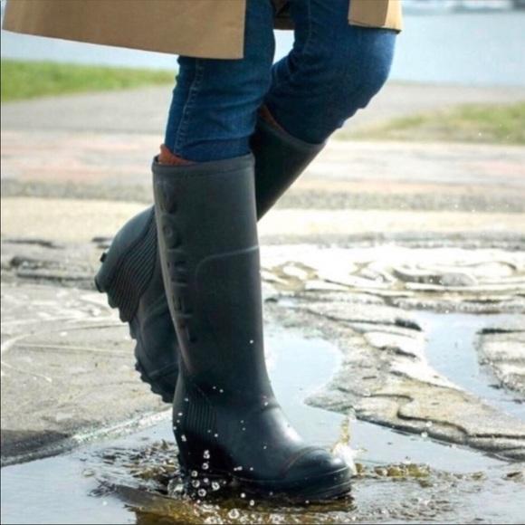 Sorel Shoes | Joan Navy Wedge Tall Rain